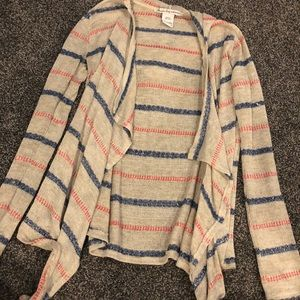 American Rag Sweater with Hood-beige blue/pink st